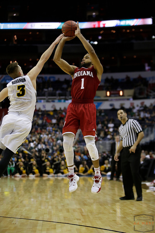Indiana guard James Blackmon Jr. (1) in action as Indiana played Iowa in an NCCA college basketball game in the second tournament in Washington, D.C., Thursday, March 9, 2017. (Photo by AJ Mast)