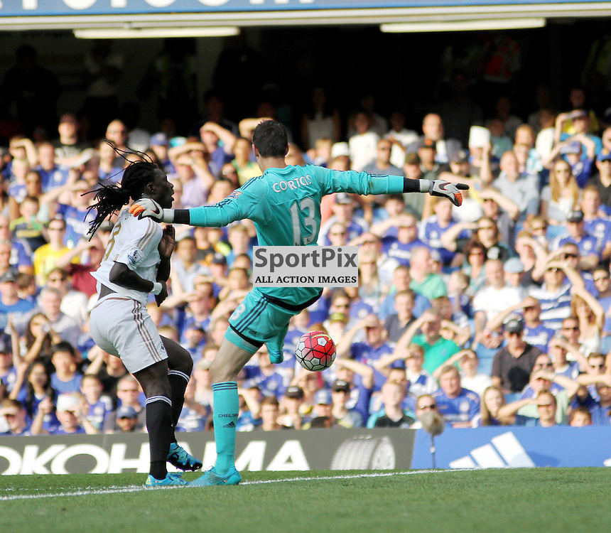 Thibaut Courtois takes out bafitembi gomis During Chelsea vs Swansea on the 8th August 2015.