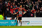 AFC Bournemouth forward Joshua King and AFC Bournemouth midfielder Eunan O'Kane celebrate the equalising goal during the The FA Cup fourth round match between Portsmouth and Bournemouth at Fratton Park, Portsmouth, England on 30 January 2016. Photo by Graham Hunt.