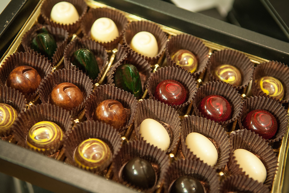 Chocolate assortment by Håkan Mårtensson of FIKA Chokolad of New York. Mårtensson won a gold medal in the 2008 Culinary Olympics.