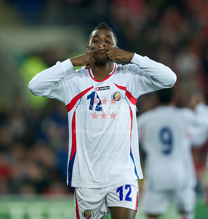 CARDIFF, WALES - Wednesday, February 29, 2012: Costa Rica's Joel Campbell celebrates scoring the only goal of the game against Wales during the international friendly match at the Cardiff City Stadium. (Pic by David Rawcliffe/Propaganda)