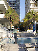 view of new art deco hotels with swimming pool Miami Beach USA