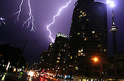 Aug 02, 2006; Toronto, ON, Canada; Lightning zigs and zags over the Toronto skyline last night as a thunderstorm ripped through the GTA, leaving in its wake fallen hydro lines and trees, and a house without a roof.  <br /> ©Exclusivepix