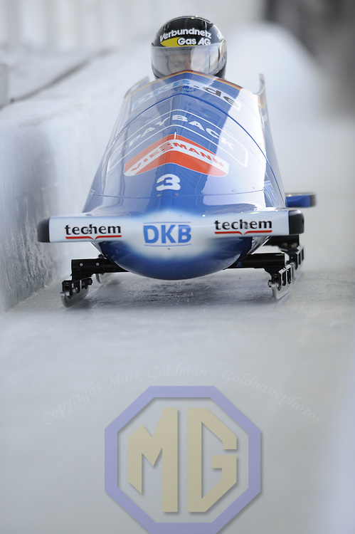 15 December 2007:    The Germany 1 sled driven by Andre Lange with Martin Putze on the brakes competes at the FIBT World Cup Men's bobsled competition on December 15, 2007 at the Olympic Sports Complex in Lake Placid, NY.  Lange finished in second place in the race which was won by Pierre Lueders and Lascalles Brown in the Canada 1 sled.