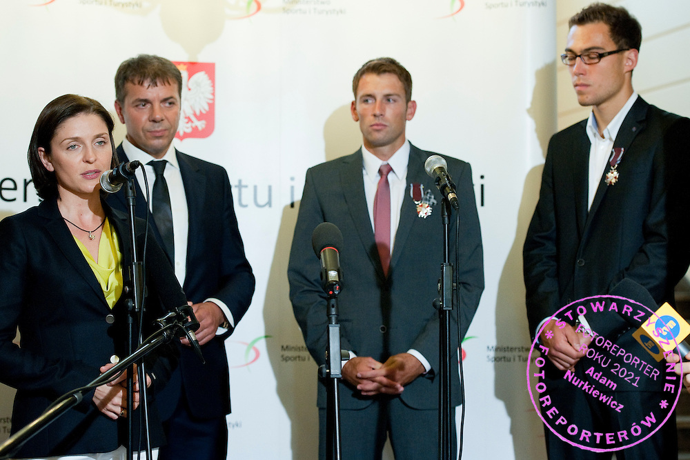 (L) Joanna Mucha - Minister of Sport and Krzysztof Suski - President of Polish Tennis Association and Lukasz Kubot and (R) Jerzy Janowicz during meeting in Ministry of Sport in Warsaw, Poland.<br /> <br /> Poland, Warsaw, July 08, 2013<br /> <br /> Picture also available in RAW (NEF) or TIFF format on special request.<br /> <br /> For editorial use only. Any commercial or promotional use requires permission.<br /> <br /> Photo by &copy; Adam Nurkiewicz / Mediasport