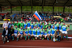Players of Slovenia after with Borut Pahor, president of Slovenia, rugby match between National team of Slovenia (green) and Bulgaria (white) at EUROPEAN NATIONS CUP 2012-2014 of C group 2nd division, on April 12, 2014, at ZAK Stadium, Ljubljana, Slovenia. (Photo by Matic Klansek Velej / Sportida.com)