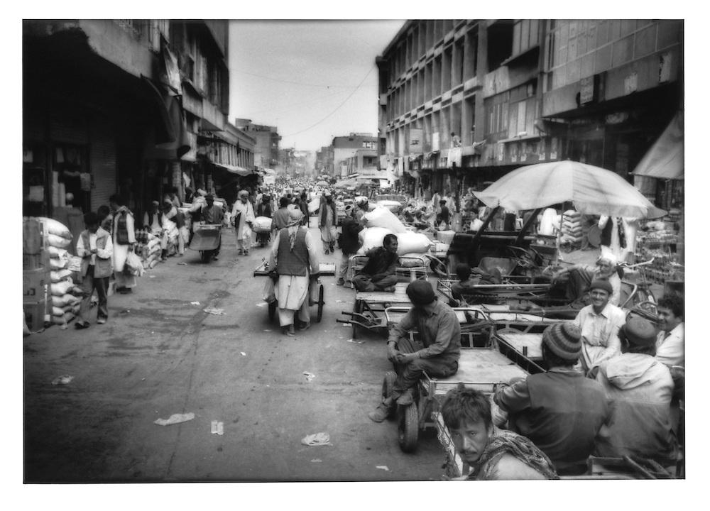 Bazaar street in the old city, Kabul, Afghanistan.