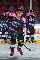 KELOWNA, CANADA - OCTOBER 21: Nolan Foote #29 of the Kelowna Rockets warms up against the Portland Winterhawks on October 21, 2017 at Prospera Place in Kelowna, British Columbia, Canada.  (Photo by Marissa Baecker/Shoot the Breeze)  *** Local Caption ***