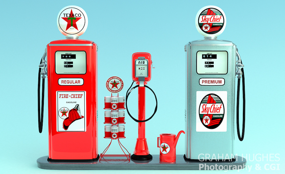 1950's Texaco Gas Pump Island