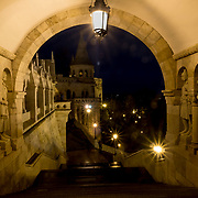BUDAPEST, HUNGARY - DECEMBER 07:  A detail view from  Fisherman's bastions on December 7, 2017 in Budapest, Hungary. The traditional Christmas market and lights will stay until 31st December 2017.