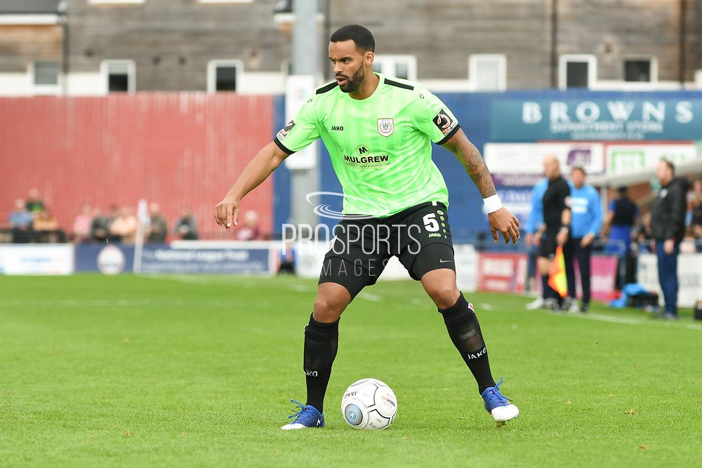 Daniel Shaw of Curzon Ashton (5) in action during the Vanarama National League North match between York City and Curzon Ashton at Bootham Crescent, York, England on 18 August 2018.