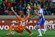 Portugal, FUNCHAL : Maritimo's French goalkeeper Salin (L)  vies with Porto's Brazilian defender Maicon (R ) during Portuguese League football match Maritimo vs F.C. Porto at Barreiros Stadium in Funchal on January  25, 2015. PHOTO/ GREGORIO CUNHA