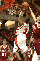 19 November 2005: Nedu Onyeuku gets past Jon LaBad at the hoop. In a non-conference race that came down to a photo finish, the Illinois State Redbirds slipped past the Indianapolis University Greyhounds 54-50 at Redbird Arena in Normal Illinois