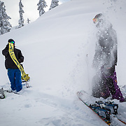 Owen Dudley pulls his skin while flicking all the snow into Tyler Hatcher's face in the Mount Baker backcountry Washington.