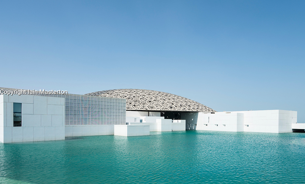 Exterior view of the Louvre Abu Dhabi at Saadiyat Island Cultural District in Abu Dhabi, UAE. Architect Jean Nouvel