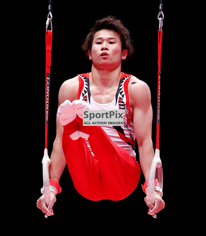 2015 Artistic Gymnastics World Championships being held in Glasgow from 23rd October to 1st November 2015..... Japan's Kazuma Kaya  performs in the Rings in the Men's All-Round Final...(c) STEPHEN LAWSON | SportPix.org.uk