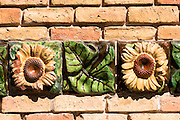 Ceramic tiles at El Capricho de Gaudi (The Caprice Villa Quijano) at Comillas in Cantabria, Northern Spain
