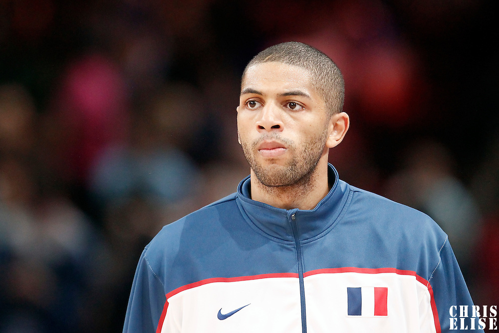 15 July 2012: Nicolas Batum of Team France warms up prior to a pre-Olympic exhibition game won 75-70 by Spain over France, at the Palais Omnisports de Paris Bercy, in Paris, France.