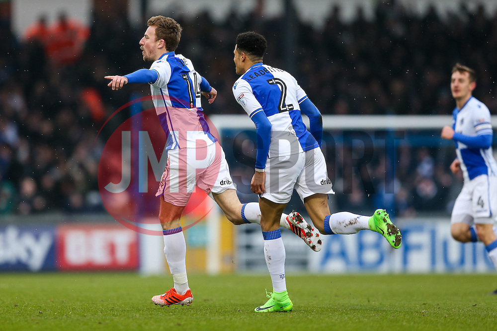 Chris Lines of Bristol Rovers celebrates scoring a goal to make it 1-0 - Rogan Thomson/JMP - 11/02/2017 - FOOTBALL - Memorial Stadium - Bristol, England - Bristol Rovers v Bradford City - Sky Bet League One.