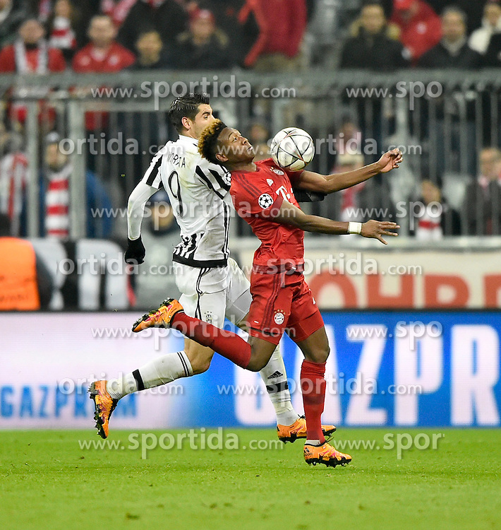 16.03.2016, Allianz Arena, Muenchen, GER, UEFA CL, FC Bayern Muenchen vs Juventus Turin, Achtelfinale, Rueckspiel, im Bild Zweikampf, Aktion David Alaba FC Bayern Muenchen (rechts) gegen Alvaro Morata Juventus Turin // during the UEFA Champions League Round of 16, 2nd Leg match between FC Bayern Munich and Juventus FC at the Allianz Arena in Muenchen, Germany on 2016/03/16. EXPA Pictures &copy; 2016, PhotoCredit: EXPA/ Eibner-Pressefoto/ Weber<br /> <br /> *****ATTENTION - OUT of GER*****