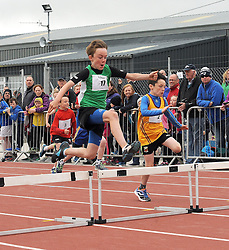 Jack Sweeney (Westport) and David Cameron (Ballinrobe) competing in the boys U10 hurdles at the Mayo Community Games.<br /> Pic Conor McKeown