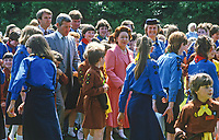 Smiles all around as HRH, Princess Margaret, on a two day Royal Visit to N Ireland, mingles with Guides and Brownies during her tour of Lorne, Craigavad, near Belfast, the organisation's 21 acre estate which offers a wide range of training and recreational facilities. Princess Margaret is accompanied by Mrs Eva Eves, the Chief Commissioner. 19840075PM7<br />