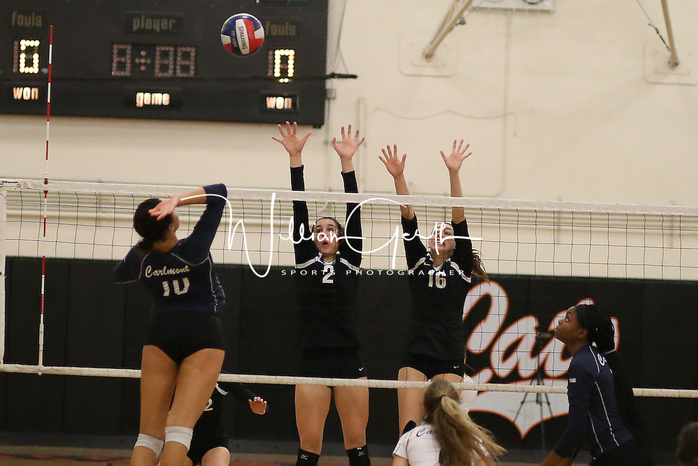 (Photograph by Bill Gerth for SVCN) Carlmont vs Los Gatos in a CCS Division 1 Semi Final Girls Volleyball Game at Los Gatos High School, Los Gatos CA on 11/9/16.  (Los Gatos defeated Carlmont 3-0, 25-21, 25-17, 25-16)