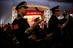 epa06272295 Chinese military band members rehearse before the opening ceremony of the 19th National Congress of the Communist Party of China (CPC) at the Great Hall of the People (GHOP) in Beijing, China, 18 October 2017. China holds the 19th Congress of the Communist Party of China (CPC), the country's most important political event where governmental plans are made for the next five years. Xi Jinping is expected to remain as the General Secretary of the Communist Party of China for another five-year term.  EPA-EFE/HOW HWEE YOUNG