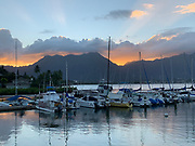 Sunset, Kaneohe Bay, Oahu, Hawaii