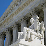 Guardian of Law marble statue at the Supreme Court Building Washington DC USA<br />
