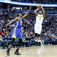 13 February 2017: Denver Nuggets guard Jameer Nelson (1) takes a jump shot over Golden State Warriors forward Kevin Durant (35) during the Denver Nuggets 132-110 victory over the Golden State Warriors, at the Pepsi Center, Denver, Colorado, USA.