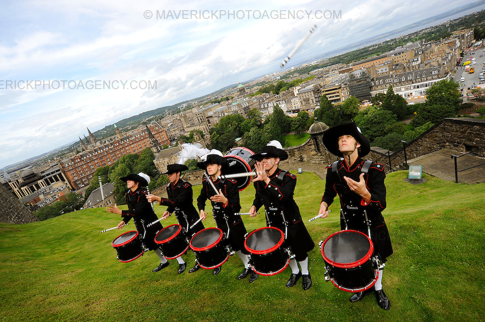 Members of the Top Secret Drum Corps from the Swiss City of Basel made their return to the Scottish Capital today to launch the 60th Edinburgh Military Tattoo at Edinburgh Castle.  The Military Tattoo runs from 7th-29th August and will see over 1000 performers entertain crowds at the castle.