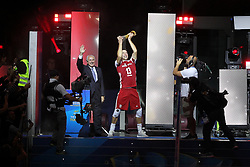 September 30, 2018 - Turin, Piedmont, Italy - Michal Kubiak, captain of the polish team, lift the World Cup after the final match between Brazil and Poland for the FIVB Men's World Championship 2018 at Pala Alpitour in Turin, Italy, on 30 September 2018. Poland won 3: 0 and it is confirmed world champion. (Credit Image: © Massimiliano Ferraro/NurPhoto/ZUMA Press)