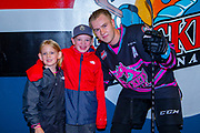 KELOWNA, CANADA - SEPTEMBER 21: Special Guest with Kyle Topping #24 of the Kelowna Rockets at the Kelowna Rockets game on September 21, 2019 at Prospera Place in Kelowna, British Columbia, Canada. (Photo By Cindy Rogers/Nyasa Photography, *** Local Caption ***