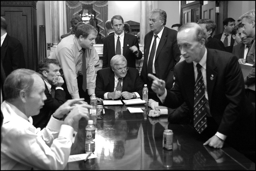 Congressional leaders and Bush Administration staff try to work out a late night deal concerning liablity issues surrounding the collaspe of the World Trade towers. This after the President's speech to Congress.  9/20/01