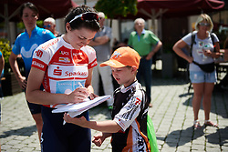 Alba Teruel (ESP) signs an autograph at Lotto Thuringen Ladies Tour 2018 - Stage 4, a 118 km road race starting and finishing in Gera, Germany on May 31, 2018. Photo by Sean Robinson/Velofocus.com