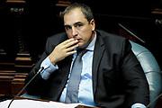 20180129/ Javier Calvelo - adhocFOTOS/ URUGUAY/ MONTEVIDEO/ Sesi&oacute;n de la Comisi&oacute;n Permanentede del Parlamento sesiona en r&eacute;gimen de Comisi&oacute;n General a los se&ntilde;ores Ministros de Industria, Energ&iacute;a y Miner&iacute;a, y de Econom&iacute;a y Finanzas, a los efectos de informar sobre el aumento de las tarifas p&uacute;blicas que rige a partir de enero de 2018 y el impacto de los costos internos de la competitividad.<br /> En la foto: Pablo Ferreri durante la Comisi&oacute;n Permanentede del Parlamento en C&aacute;mara de Senadores del Palacio Legislativo. Foto: Javier Calvelo /  adhocFOTOS