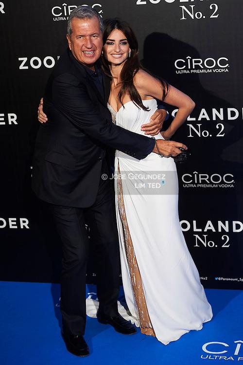 Penelope Cruz, Mario Testino attend 'Zoolander No. 2' film premiere at Capitol Cinema on February 1, 2016 in Madrid, Spain
