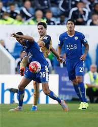 Riyad Mahrez of Leicester City (L) and Mikel Arteta of Arsenal   - Mandatory byline: Jack Phillips/JMP - 07966386802 - 26/09/2015 - SPORT - FOOTBALL - Leicester - King Power Stadium - Leicester City v Arsenal - Barclays Premier League