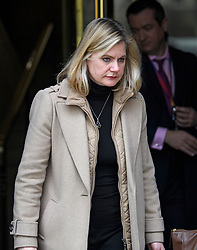 © Licensed to London News Pictures. 21/02/2019. London, UK. JUSTINE GREENING MP seen in Westminster, London. Conservative and Labour MPs have resigned form their respective parties . and joined newly formed The Independent Group, a breakaway campaign group formed by seven defecting Labour MPs. Photo credit: Ben Cawthra/LNP