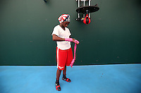 Claressa Shields of the USA Olympic boxing team trains during a workout session at the SCORE Training Facility on July 26, 2012 in London, England. (Jed Jacobsohn/for The New York Times)....