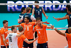 11-08-2019 NED: FIVB Tokyo Volleyball Qualification 2019 / Netherlands - USA, Rotterdam<br /> Final match pool B in hall Ahoy between Netherlands vs. United States (1-3) and Olympic ticket  for USA / Maarten van Garderen #3 of Netherlands, Fabian Plak #8 of Netherlands, Thijs Ter Horst #4 of Netherlands