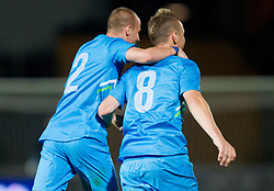 Miso Brecko of Slovenia and Jasmin Kurtic of Slovenia celebrate during friendly football match between national teams of Slovenia and Greece, on May 26, 2012 in Kufstein, Austria.   (Photo by Vid Ponikvar / Sportida.com)