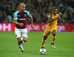October 20, 2017 - London, England, United Kingdom - West Ham United's Pablo Zabaleta takes on Brighton & Hove Albion's Gaetan Bong.during Premier League match between West Ham United against Brighton and Hove Albion at The London Stadium, Queen Elizabeth II Olympic Park, London, Britain - 20 Oct  2017  (Credit Image: © Kieran Galvin/NurPhoto via ZUMA Press)