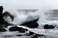 rough seas and big waves break into the coastal rocky shoreline of pico&amp;#xA;Pico Island, Azores Islands, Portugal, North Atlantic Ocean&amp;#xA;&copy; KIKE CALVO / V&amp;W&amp;#xA;( Climate weather storm winds dangerous surf)<br />