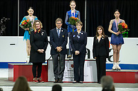 KELOWNA, BC - OCTOBER 26: Ladies silver medalist, Rika Kihira of Japan, gold medalist, Alexandra Trusova of Russia and bronze medalist, Young You of Korea stand on podium during medal ceremonies of Skate Canada International held at Prospera Place on October 26, 2019 in Kelowna, Canada. (Photo by Marissa Baecker/Shoot the Breeze)