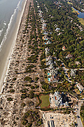 Aerial view of the beach front homes in Kiawah Island, SC.