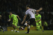 Derby County forward Chris Martin, scores, penalty during the Sky Bet Championship match between Derby County and Brighton and Hove Albion at the iPro Stadium, Derby, England on 12 December 2015.
