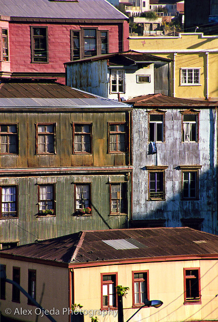 House buildings in Valparaiso, Chile