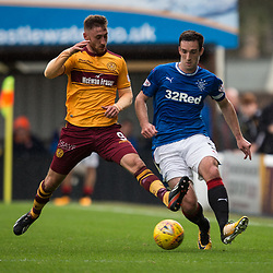 Louis Moult of Motherwell challenges Lee Wallace of Rangers, Motherwell v Rangers, Scottish Premiership, 6 August 2017 . (c) Adam Oliver | sportPix.org.uk